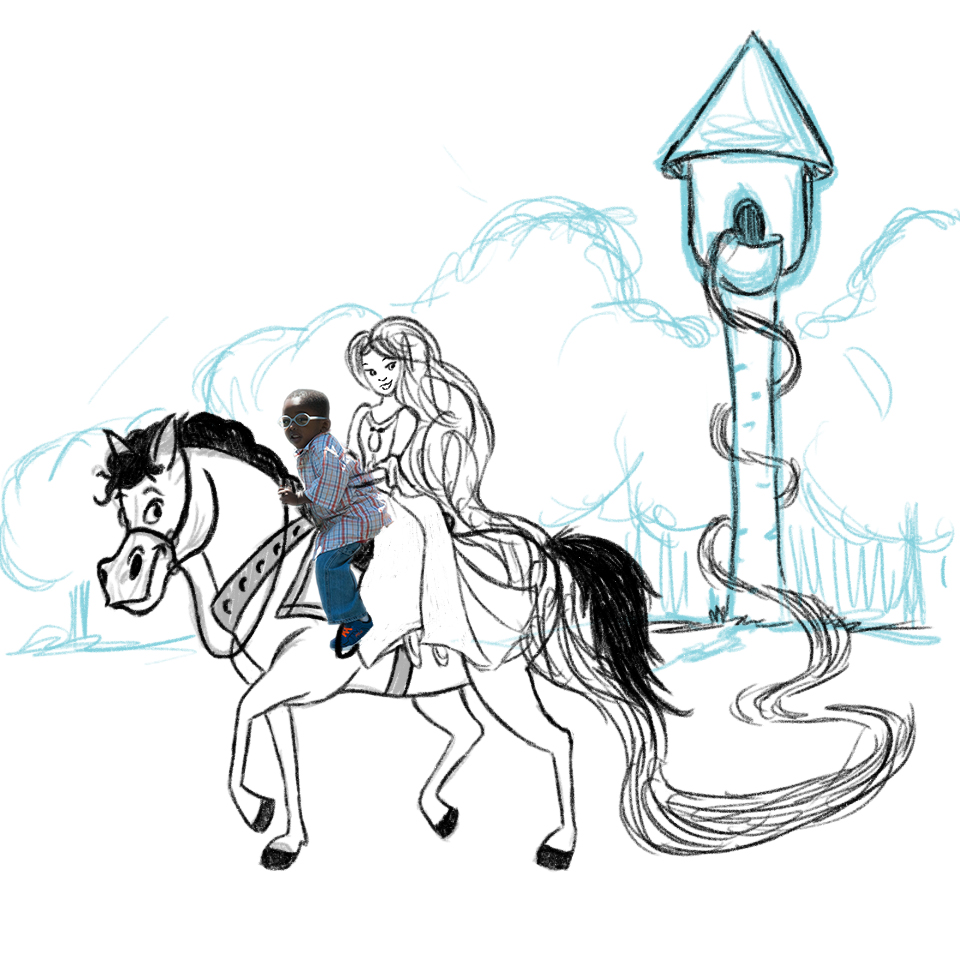 Rapunzel with boy on horse - line work.jpg