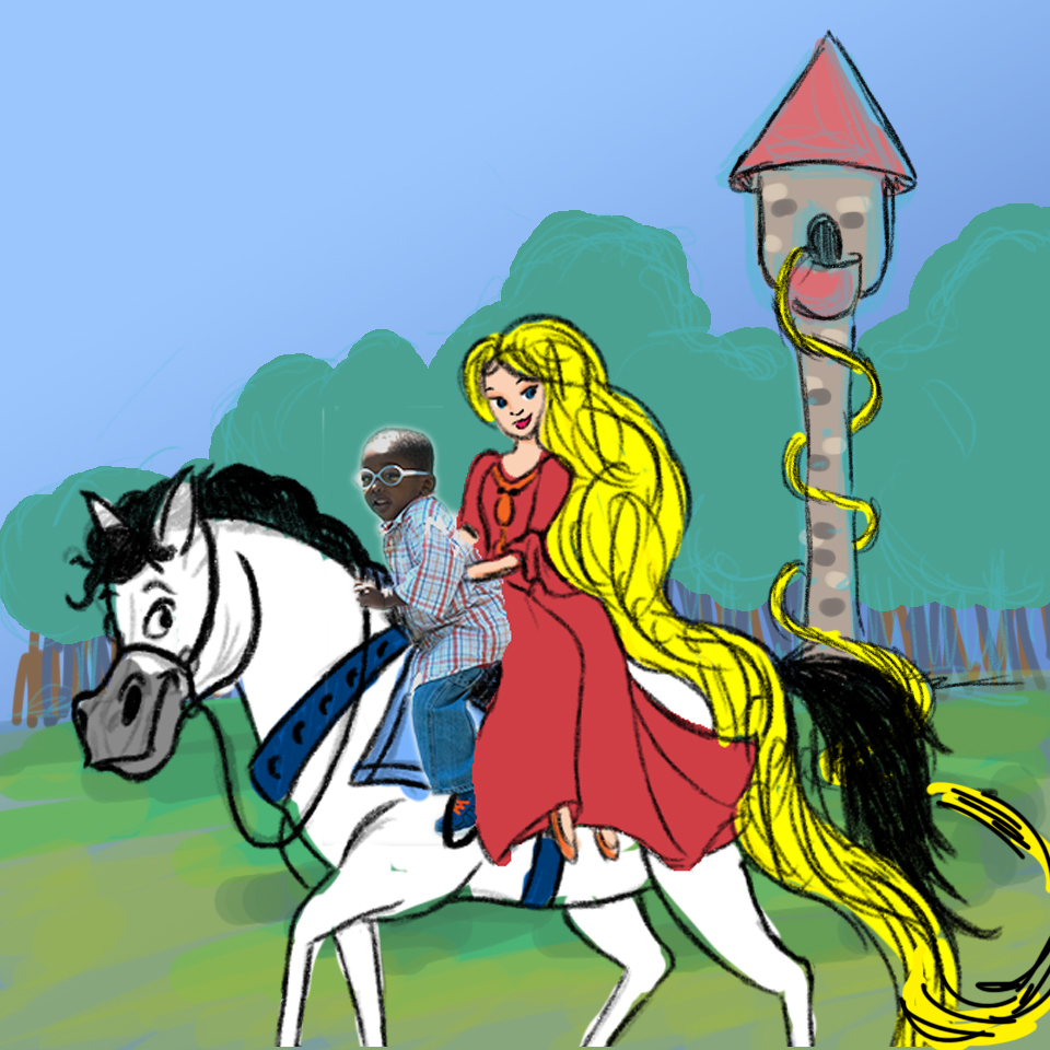 Rapunzel with boy on horse - sample with simple color v2.jpg