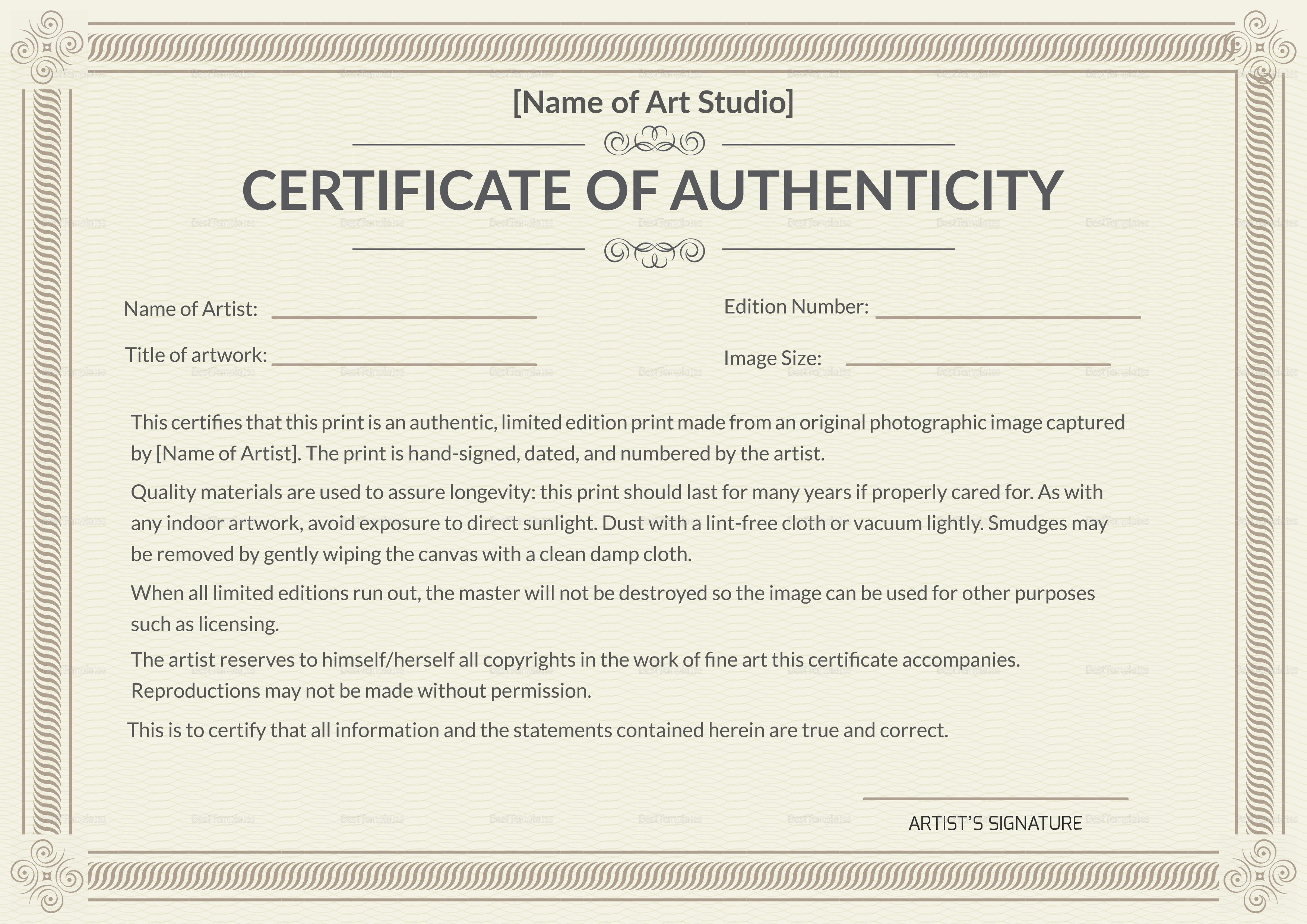 photo relating to Printable Certificate of Authenticity named Promoting originals, dos and donts SVS Message boards