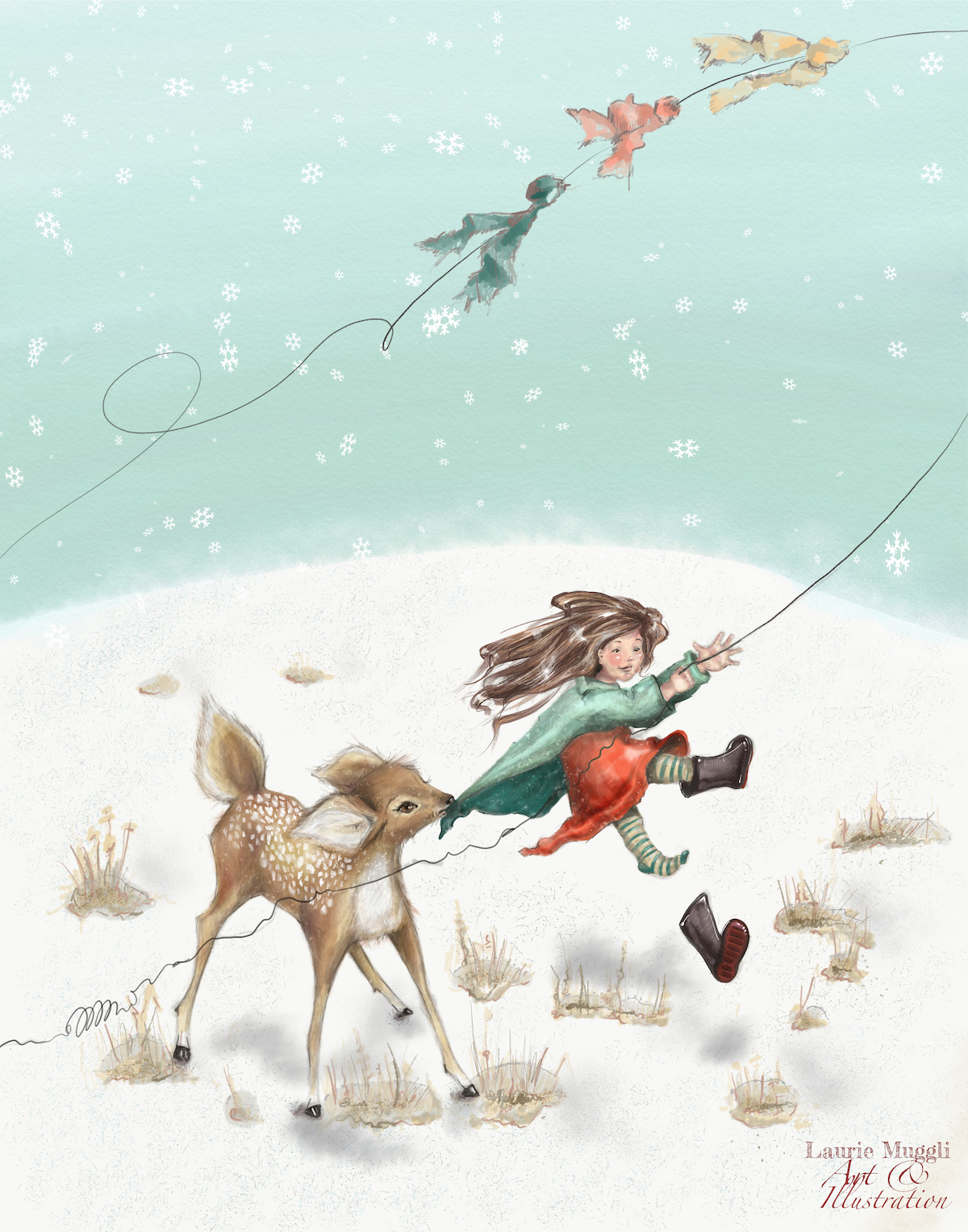 Girl flying kite with fawn 4x5.jpeg