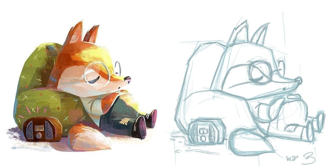 Master Study Sketch -Fox and His Luggage Aug 24th 2019.jpg