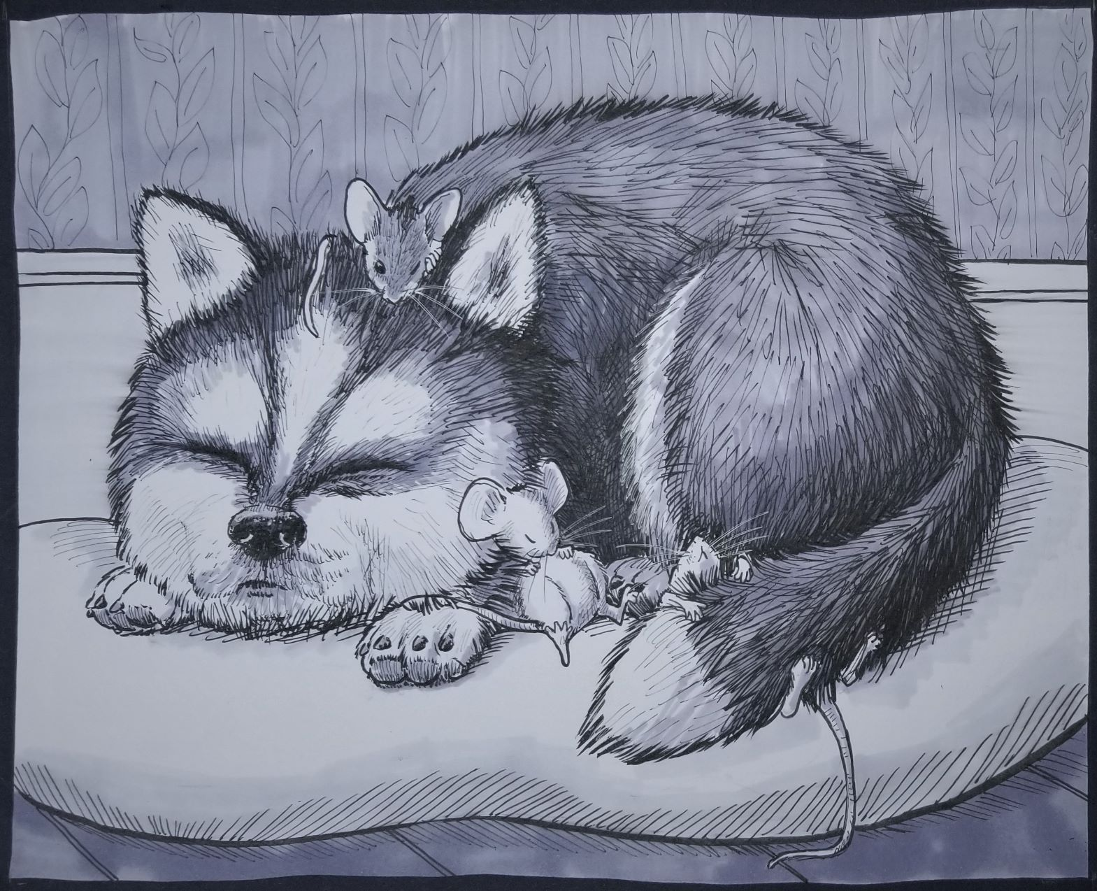 inktober day 6 Husky resized.jpg