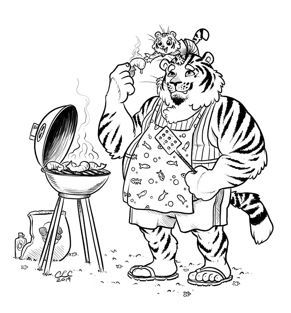 husky tiger and kitten bbq inktober 2019 day 6.jpg