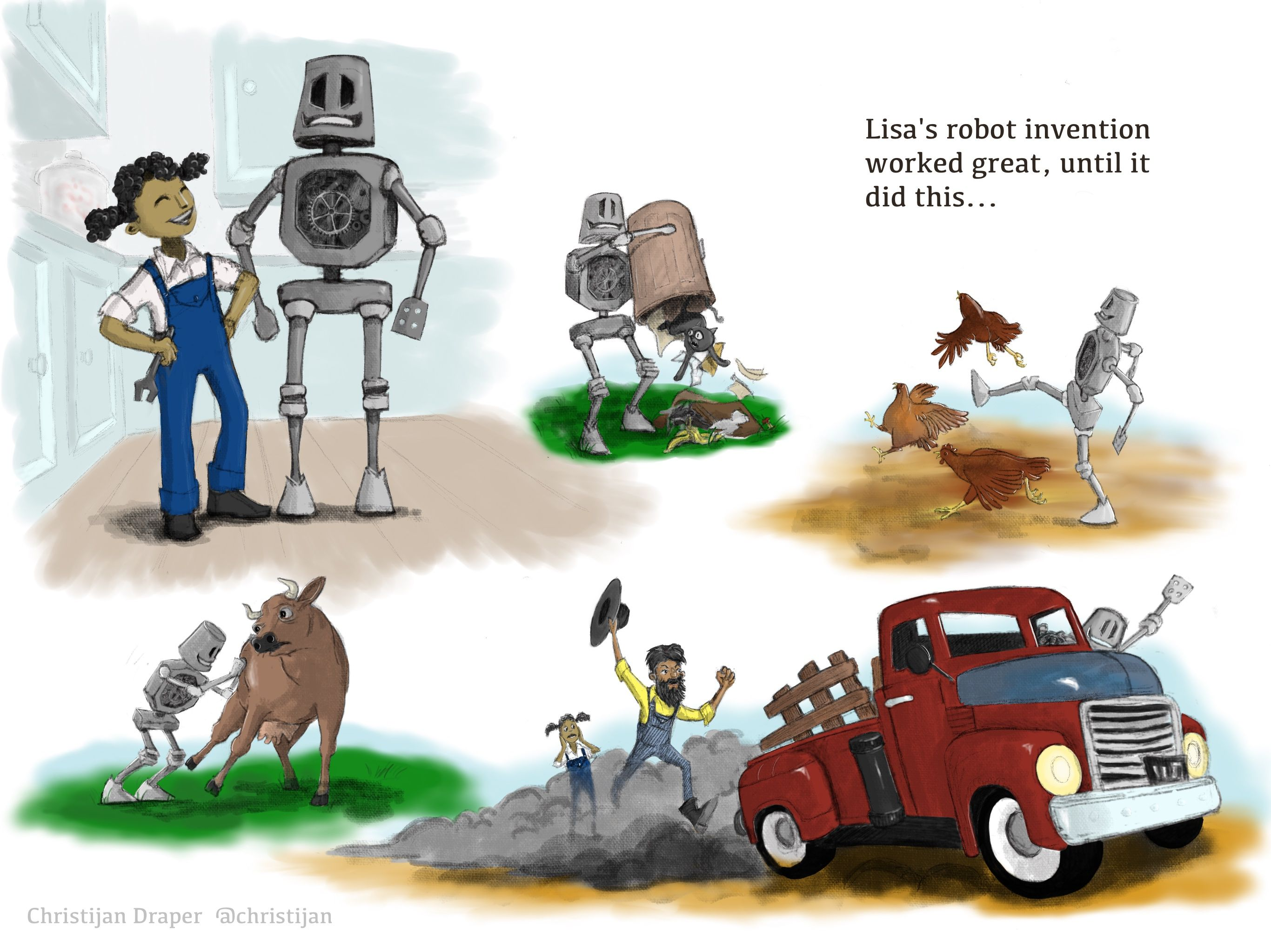 Montage drawing of girl with robot. Robot begins dumping out trash, disturbing chickens, tipping a cow, and stealing a farm truck.